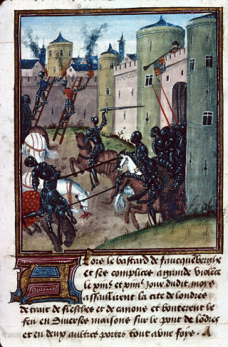 The Lancastrian siege of London in 1471 is attacked by a Yorkist sally Siege of London (MS 1168).jpg