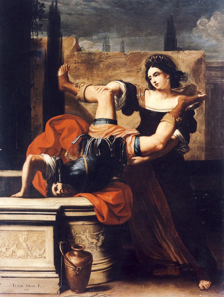 File:Sirani, Elisabetta - Timoclea uccide il capitano di Alessandro Magno - 1659.jpg
