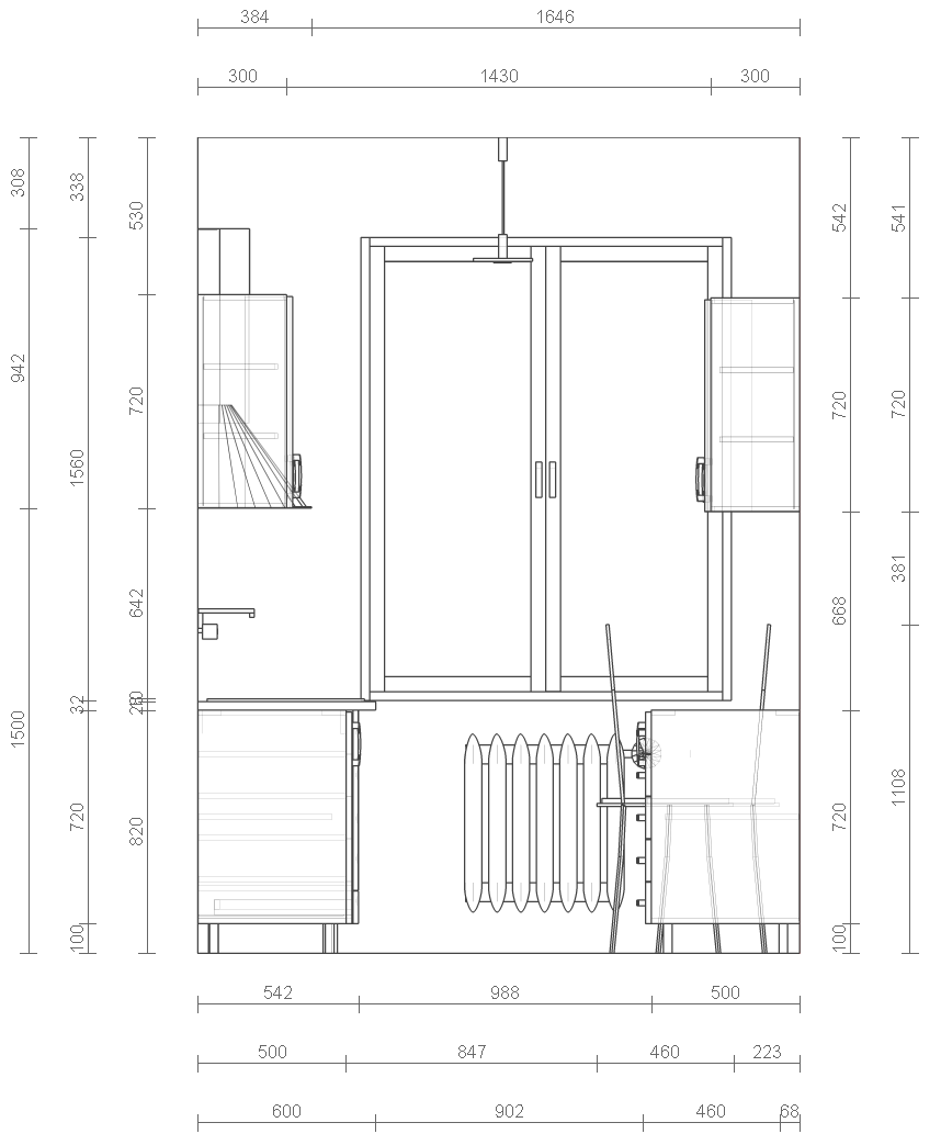 File Small Kitchen W Wall Sketch Png