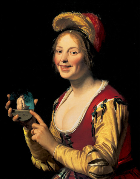 Smiling Girl, a Courtesan, Holding an Obscene Image