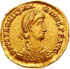 Coin bearing the image of Petronius Maximus, Palladius' father.