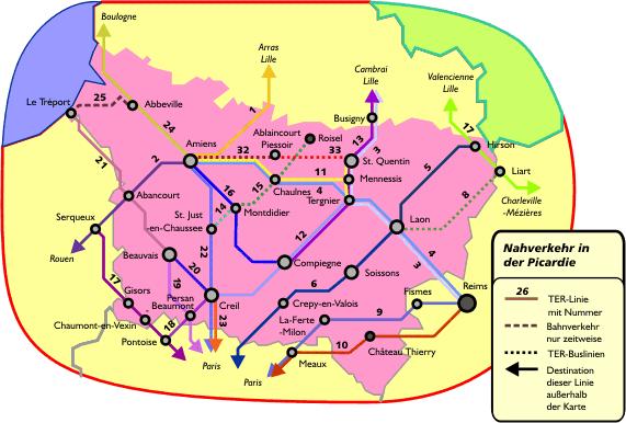 Поезда по региону Пикардия: схема маршрутов поездов по региону Пикардия
