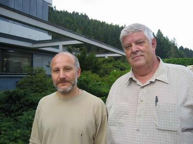 Tabachnikov (on the left) with Dmitry Fuchs in Oberwolfach, 2006
