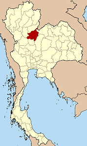 Map of Thailand highlighting Phitsanulok Province}