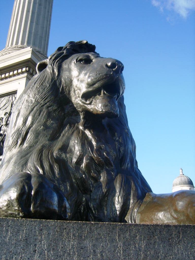 Description Trafalgar square lion.JPG