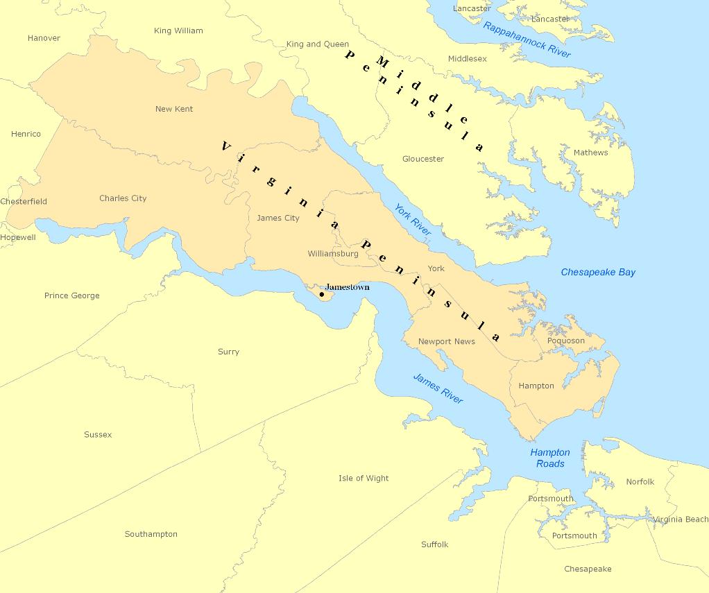 Gloucester Virginia Map.Virginia Peninsula Wikipedia