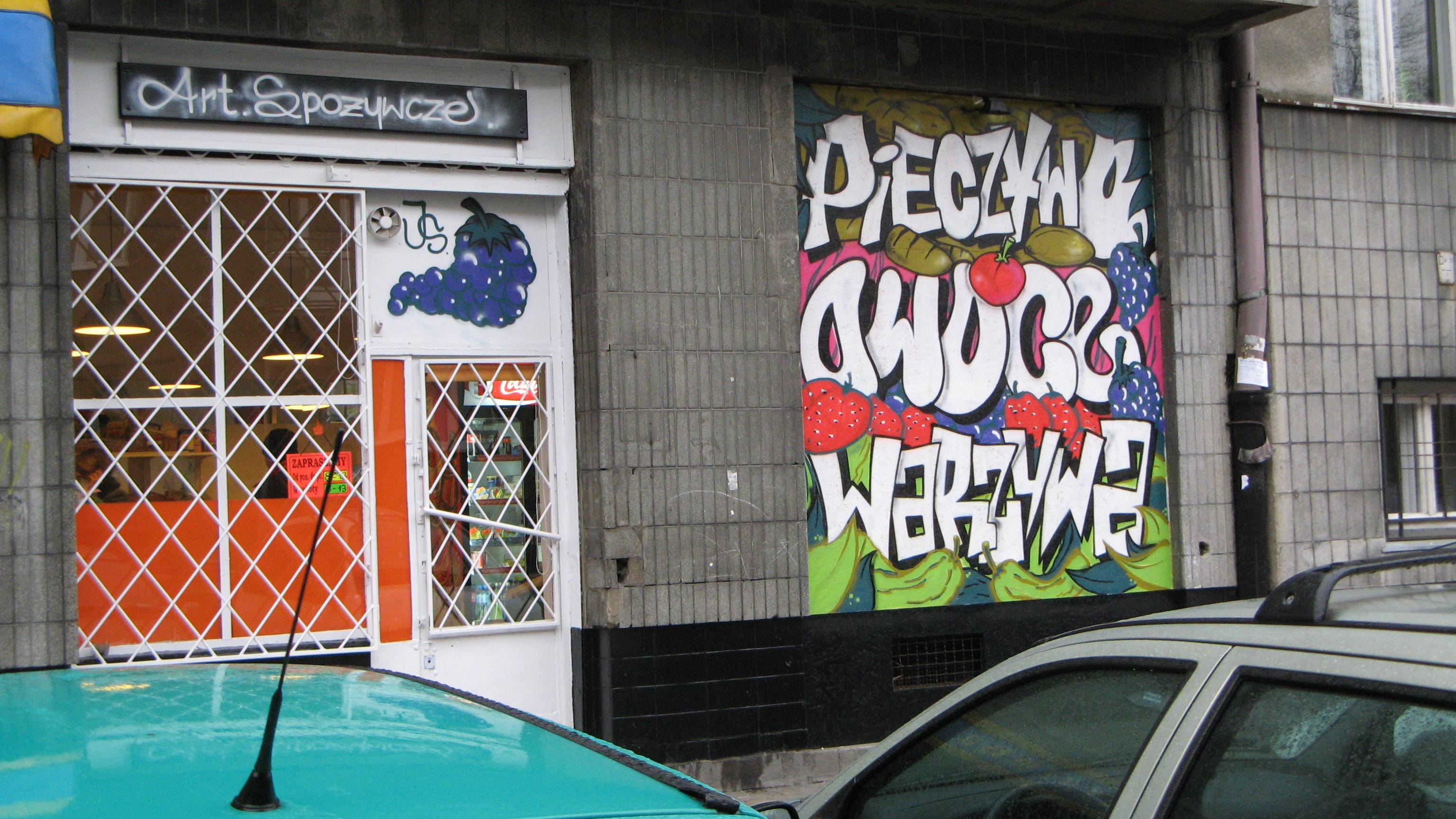 File:Warszawa Stary Mokotów graffiti on shop window