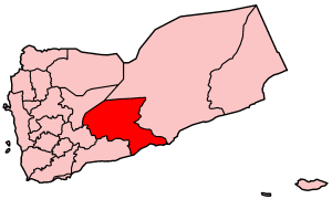 Map o Yemen showin Shabwah govrenorate.