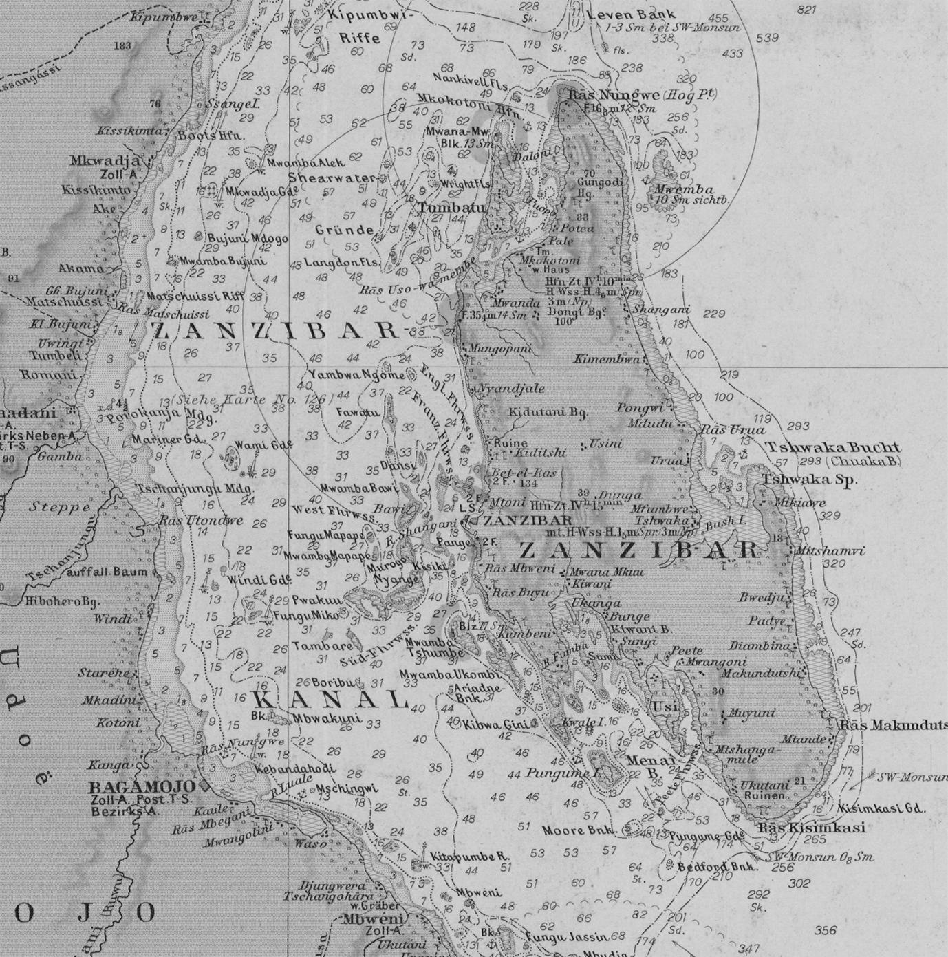 Marine Charts: Zanzibar marine chart 1891.jpg - Wikimedia Commons,Chart