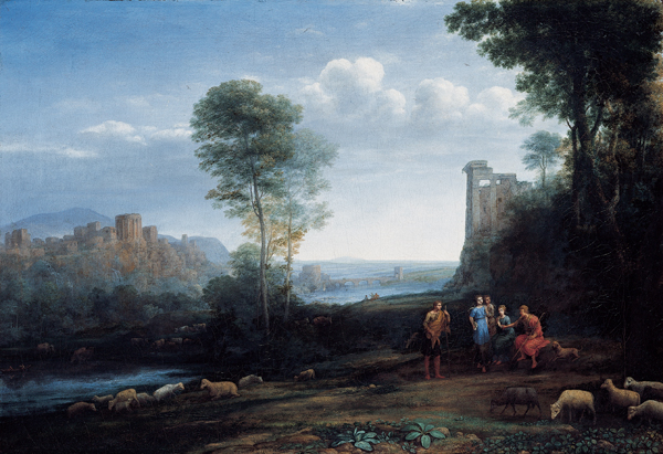 'Pastoral Landscape', oil on canvas painting by Claude Lorrain