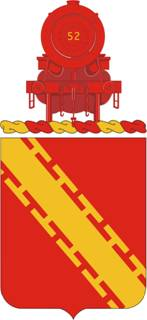 Military coat of arms, depicting a red locomotive.