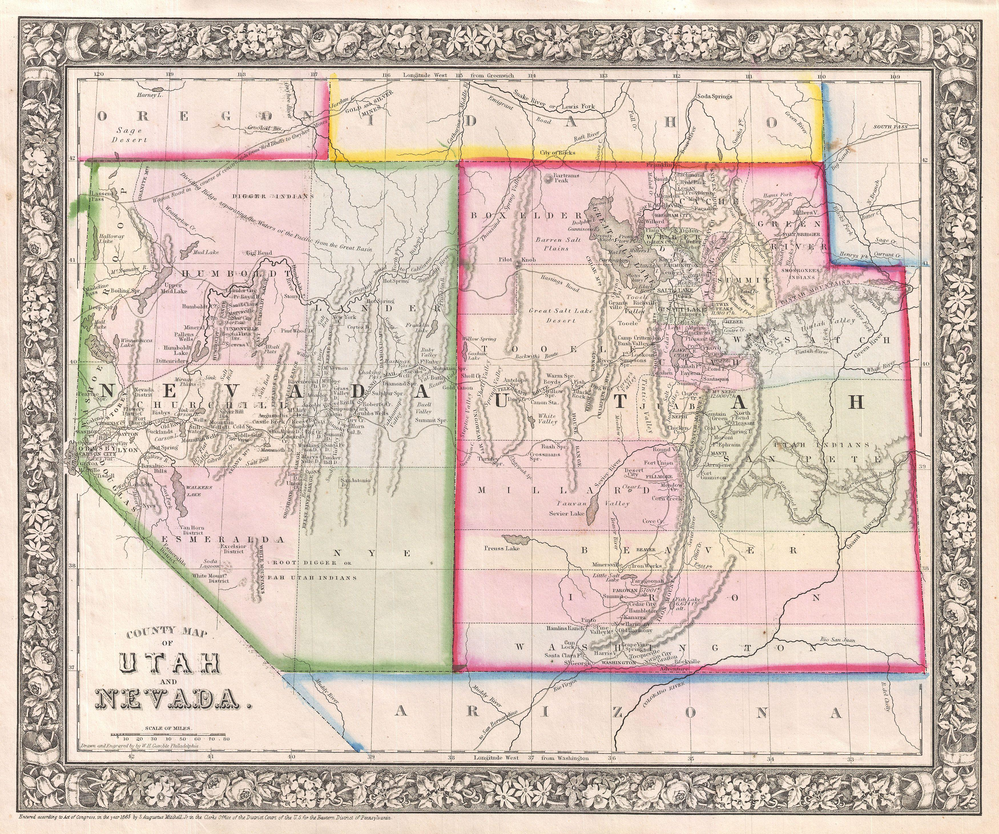 File 1866 Mitchell Map Of Utah And Nevada Geographicus