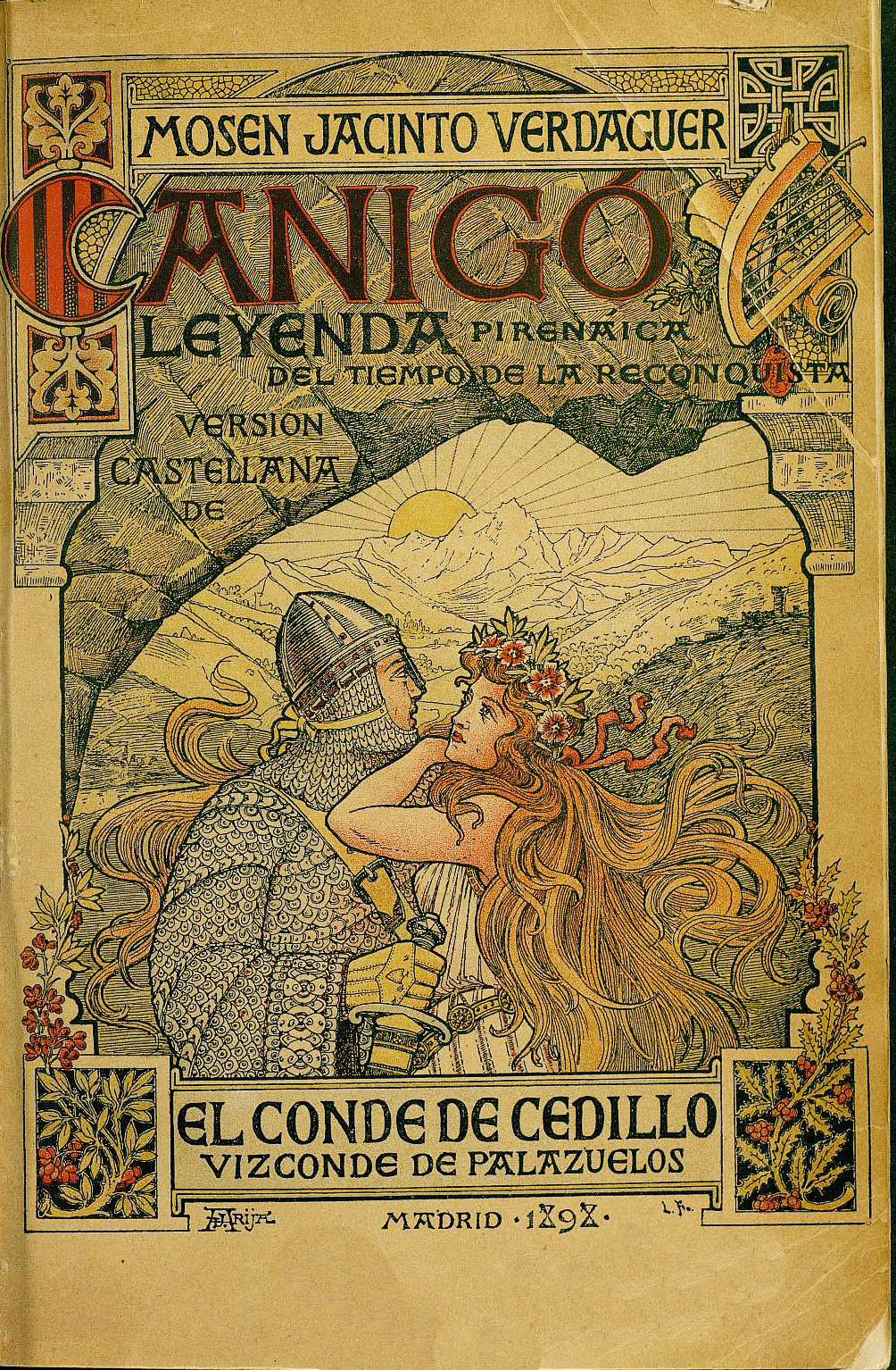Portada de una edición madrileña en castellano de Canigó (1898), obra del dibujante José Arija.