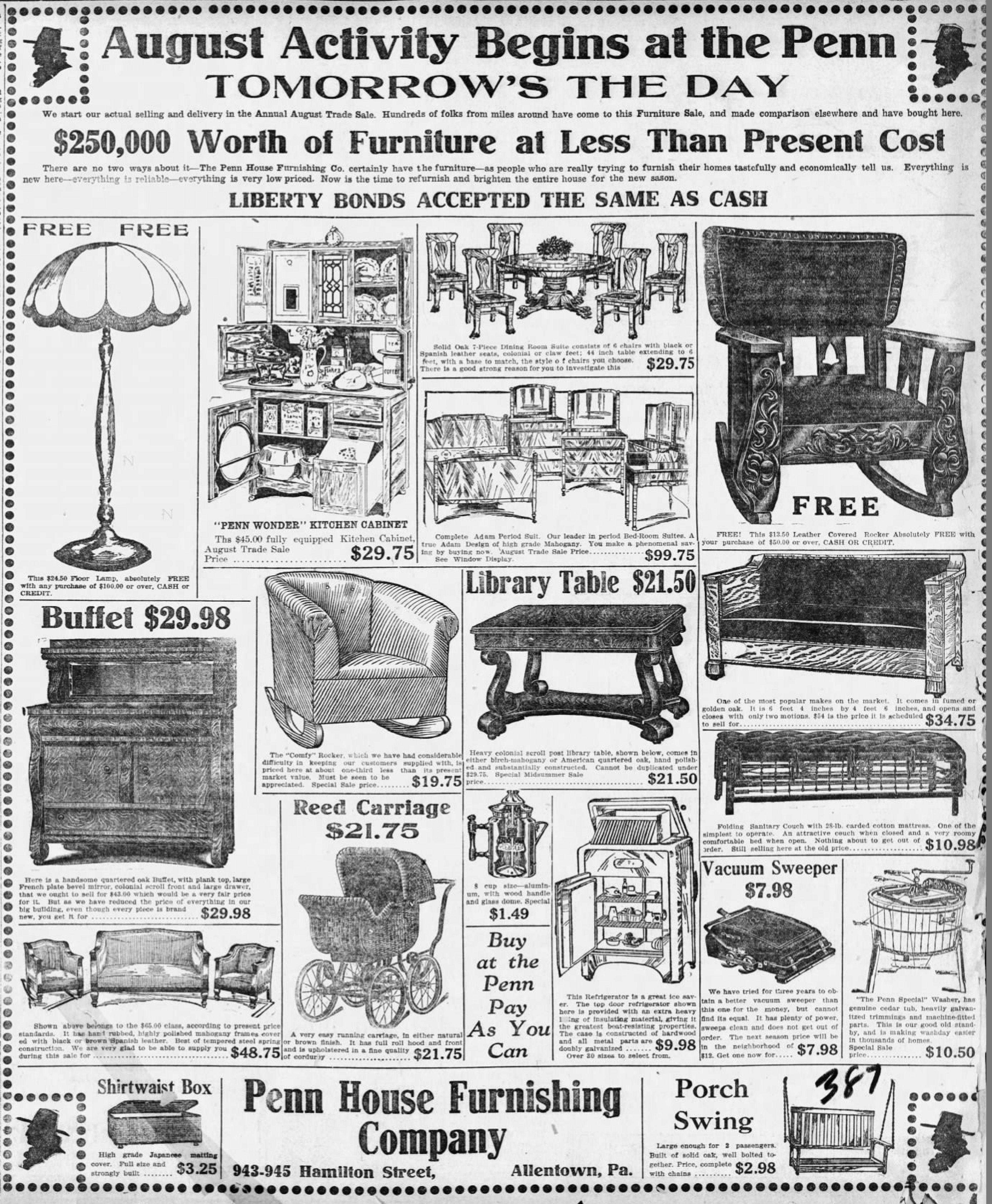 File:1918   Penn House Furniture   2 Aug MC   Allentown PA