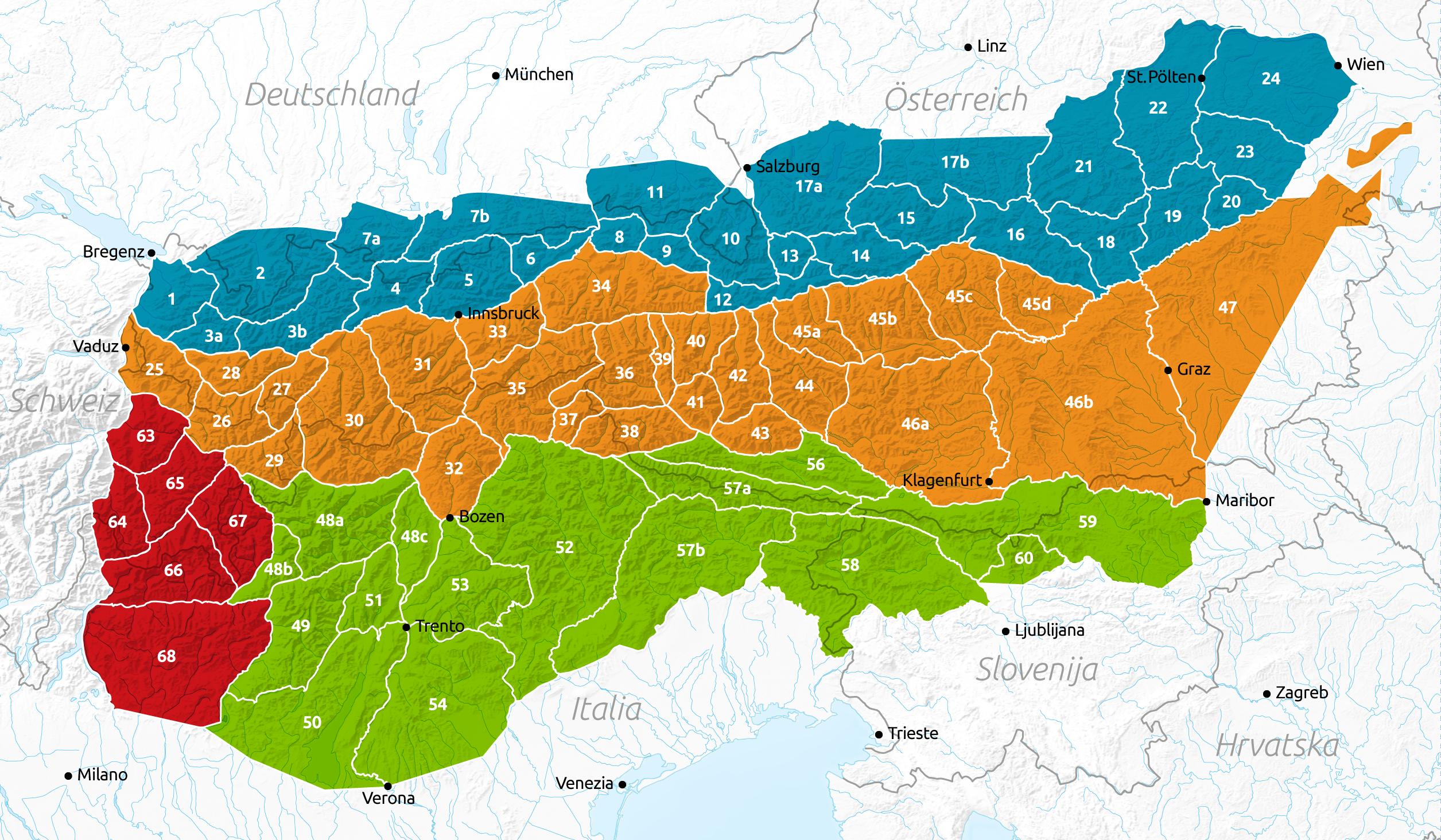 Vorarlberg Karte Berge.Topographie österreich ötk österreichischer Touristenklub