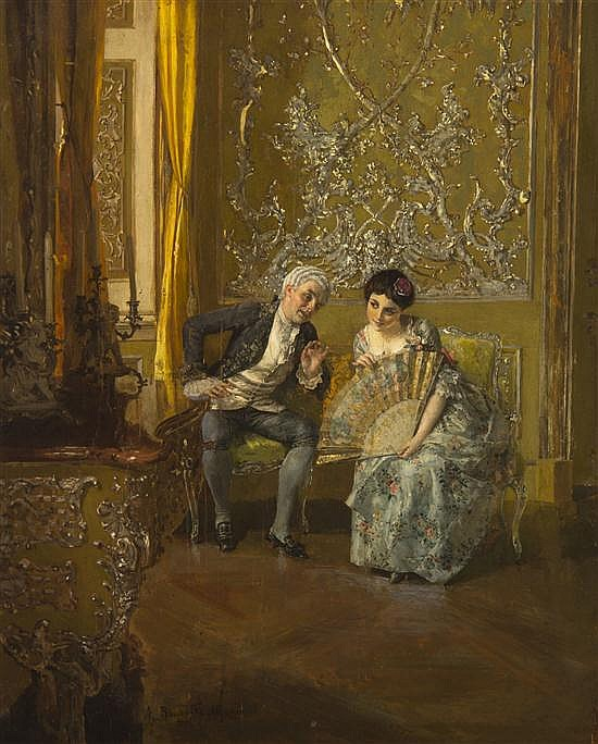19th century oil painting of a couple chatting while sitting on a loveseat in a grand room