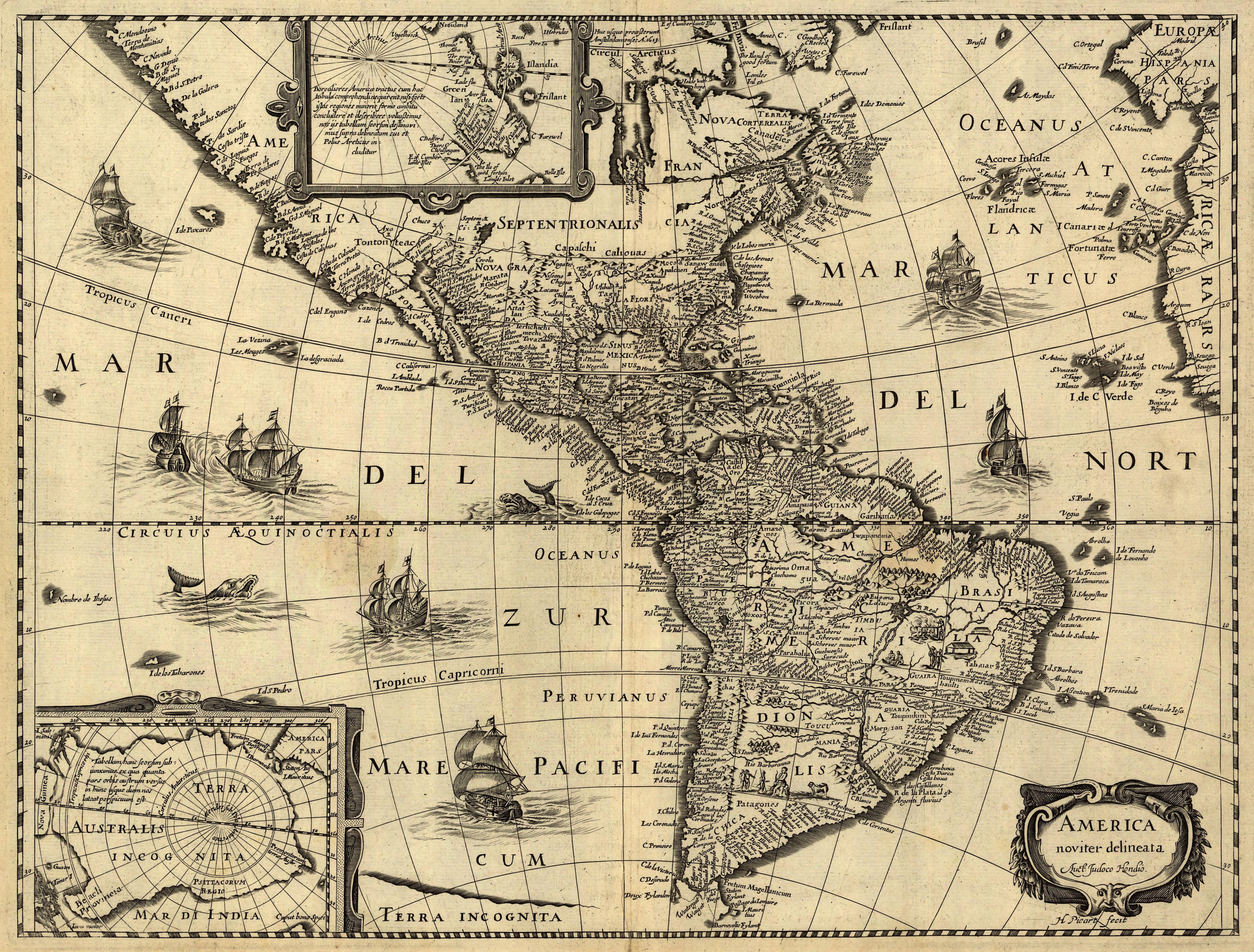 Mapa  America noviter delineata Mapa Antiguo