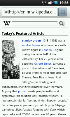 The mobile version of the English Wikipedia's main page
