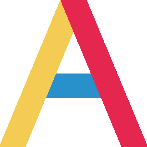 The letter A in the colors yellow, pinkish red, and bright blue