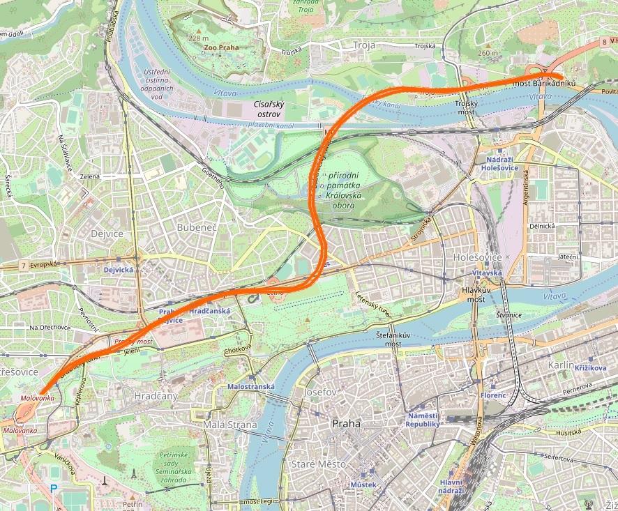 Tunel blanka mapa