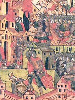 De Mongolen nemen een Russische stad in