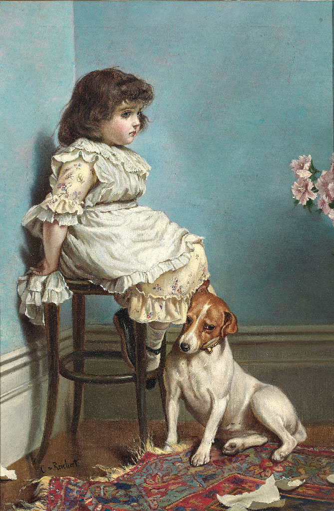 A little girl in a turn-of-the-century dress is sitting on a stool in the corner with a guilty-looking dog leaning up against the legs