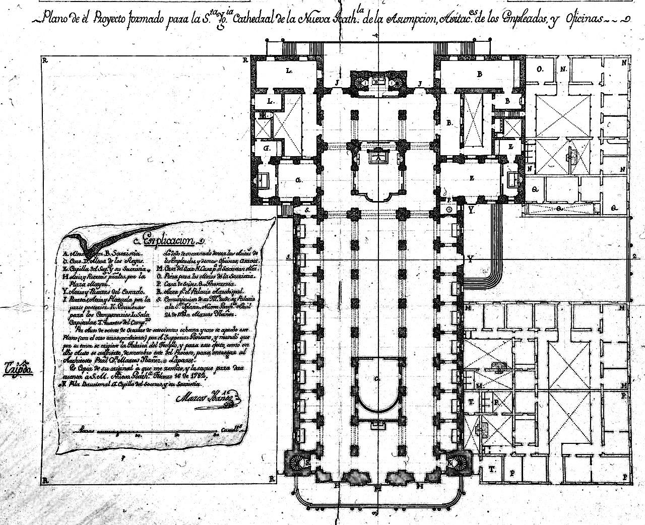 Plano original de la nueva catedral de Guatemala presentado a Francos y Monroy.