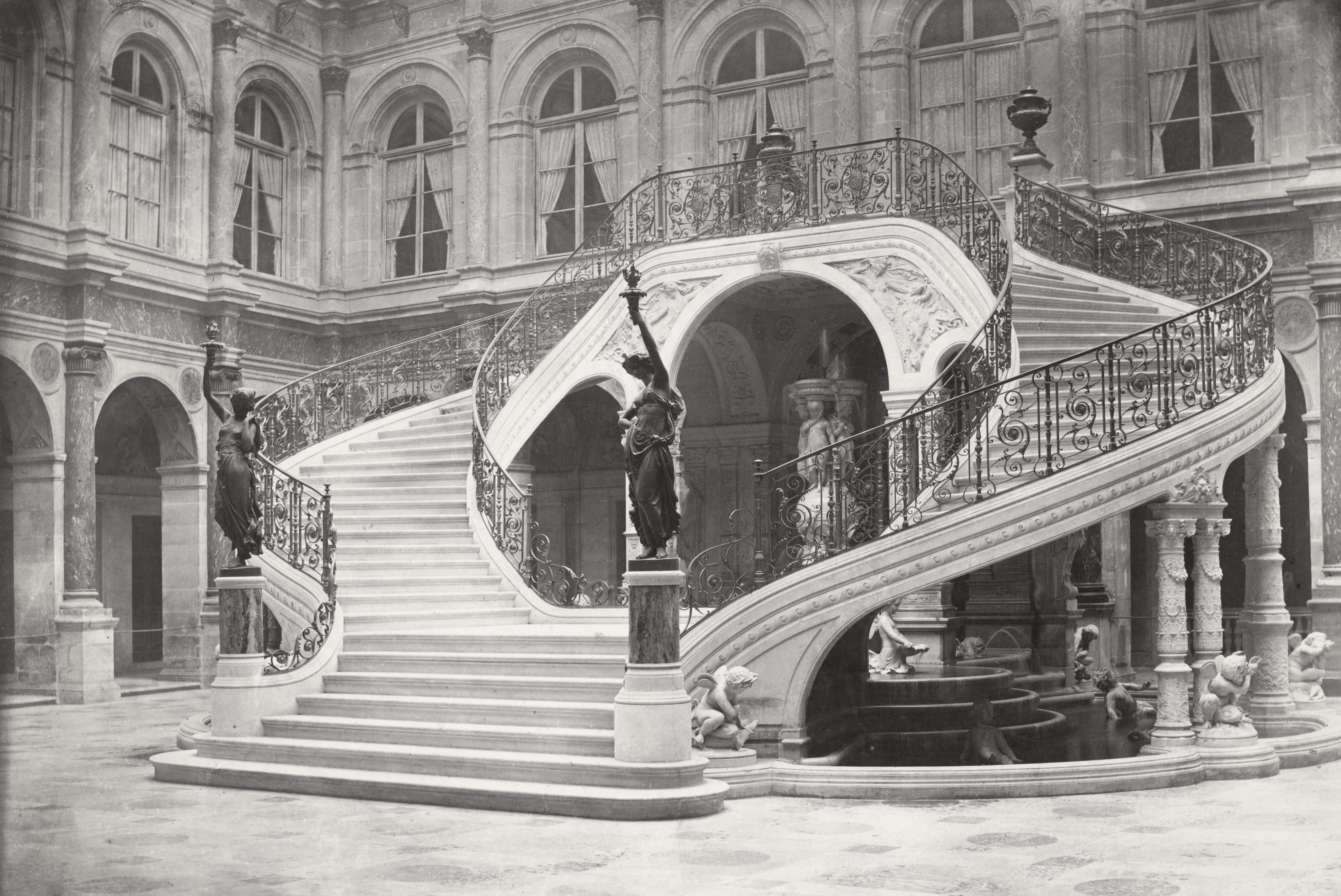 file charles marville ancien h tel de ville escalier de la cour louis xiv 2 ca 1853. Black Bedroom Furniture Sets. Home Design Ideas
