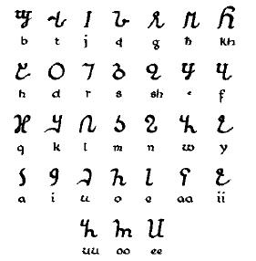 Osmaniya or Ciismaniya alphabet, invented for ...
