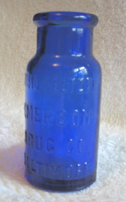 Bromo-Seltzer cobalt glass pharmacy jar or bot...