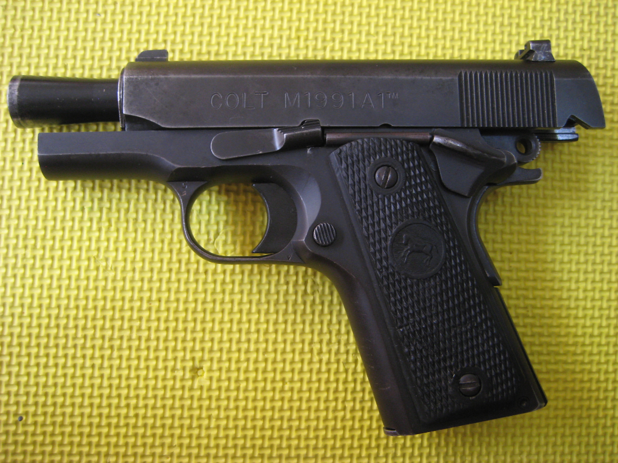M1911 Pistol Military Wiki Fandom Powered By Wikia Af As Well Sig P226 Exploded Diagram Further 1911 Parts A Colt M1991a1 Compact Orm With Slide Locked Back To Expose Bull Barrel