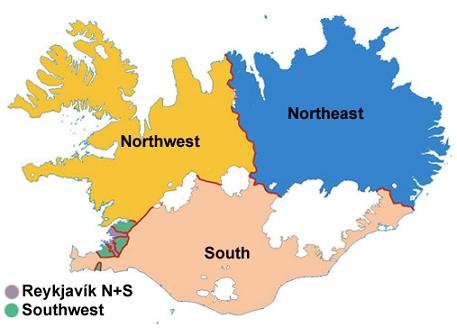 Peta pembagian wilayah administratif Islandia