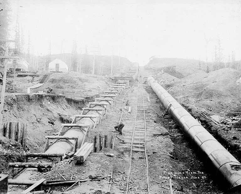File:Construction of the pipeline from the power house, possibly of