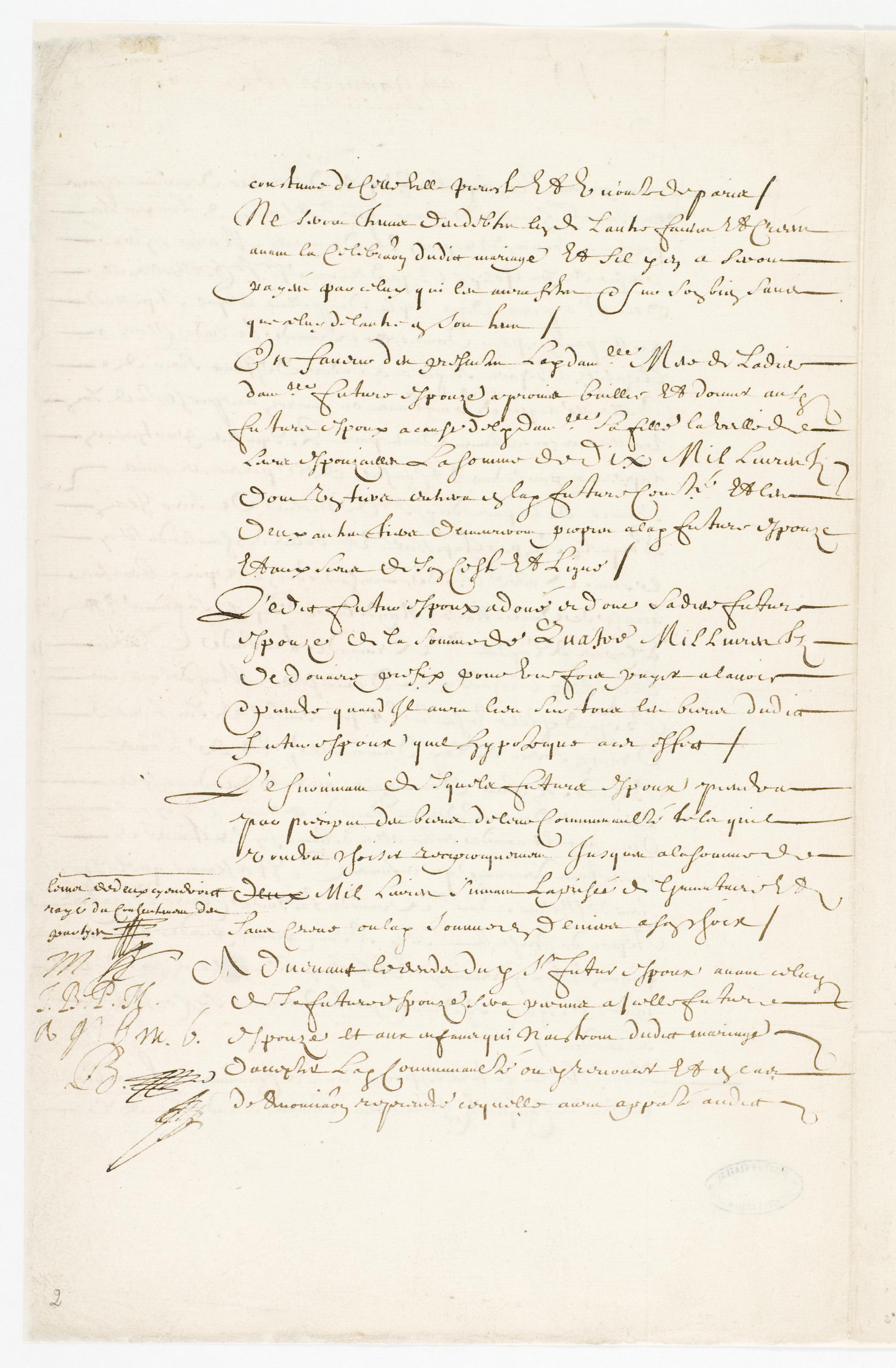 file contrat de mariage entre moli re et armande b jart 23 janvier 1662 page 2 archives. Black Bedroom Furniture Sets. Home Design Ideas