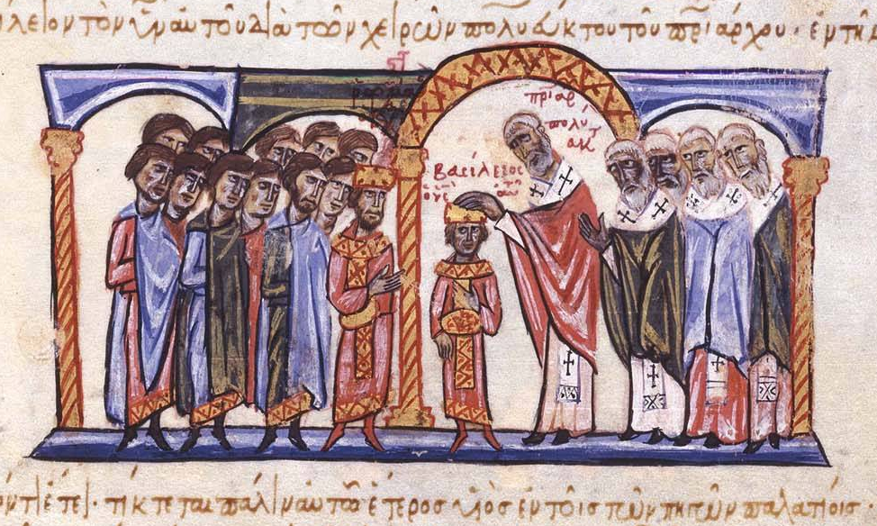 Coronation of Basil II as co-emperor to his father, Romanos II, by Patriarch Polyeuctus, on 22 April 960.