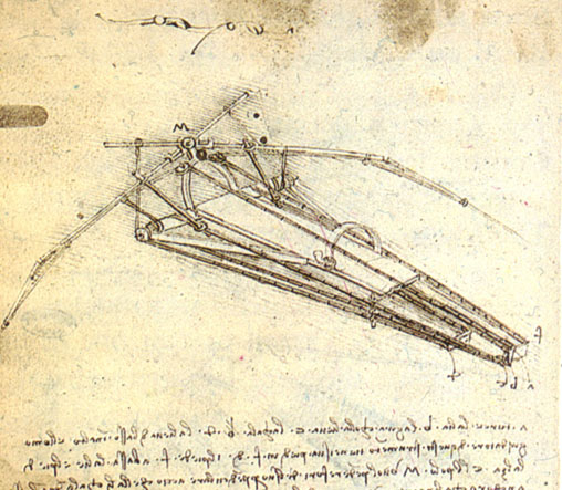 One of DaVinci's designs for a human-powered flight device