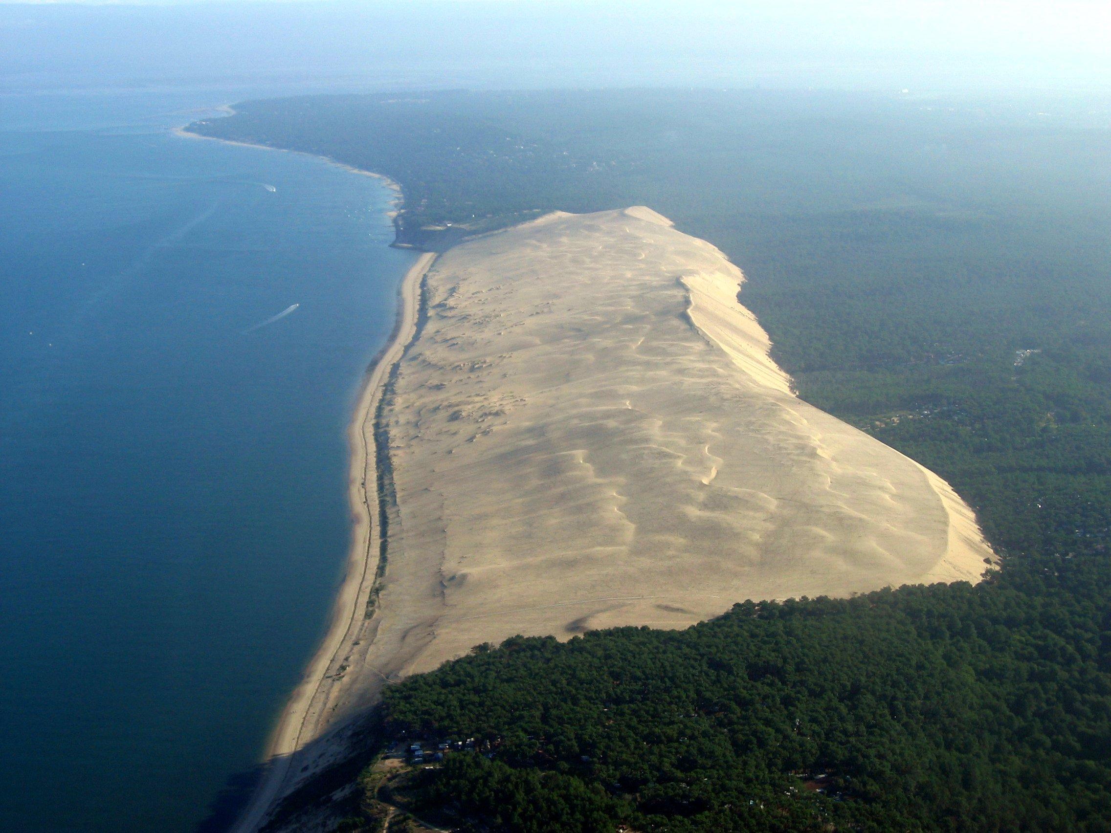 Aujourd'hui, la progression des dunes est entièrement stoppée par les forêts de pins.