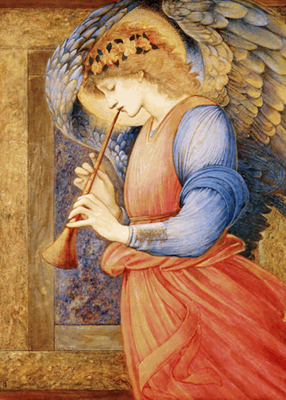 file edward burne jones an angel playing a flageolet jpg