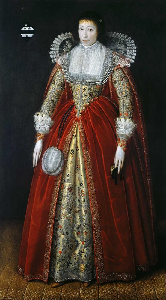 Lady Elisabeth Style, noin 1620 hollantilaistyylisessä asussaan korkeine vyötäröineen