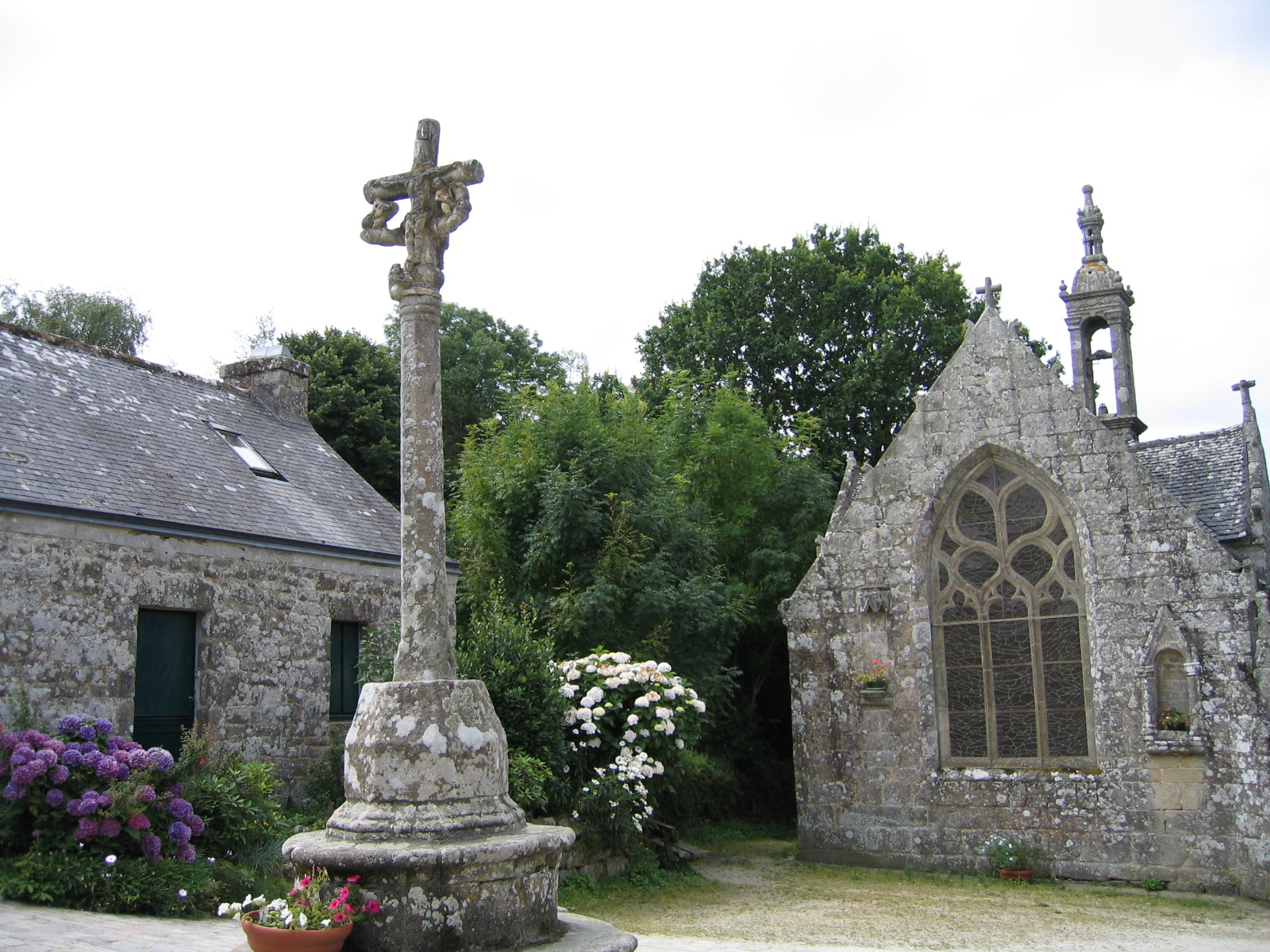 A chapel and a calvary in Locronan, Finistère.