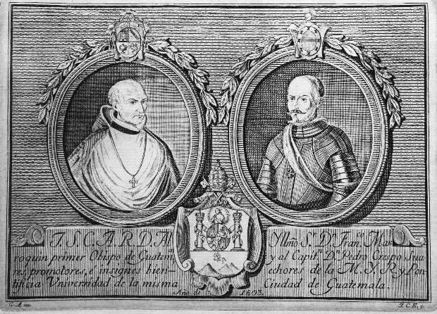 Los fundadores de la Universidad de San Carlos en un bajo relieve del siglo XIX