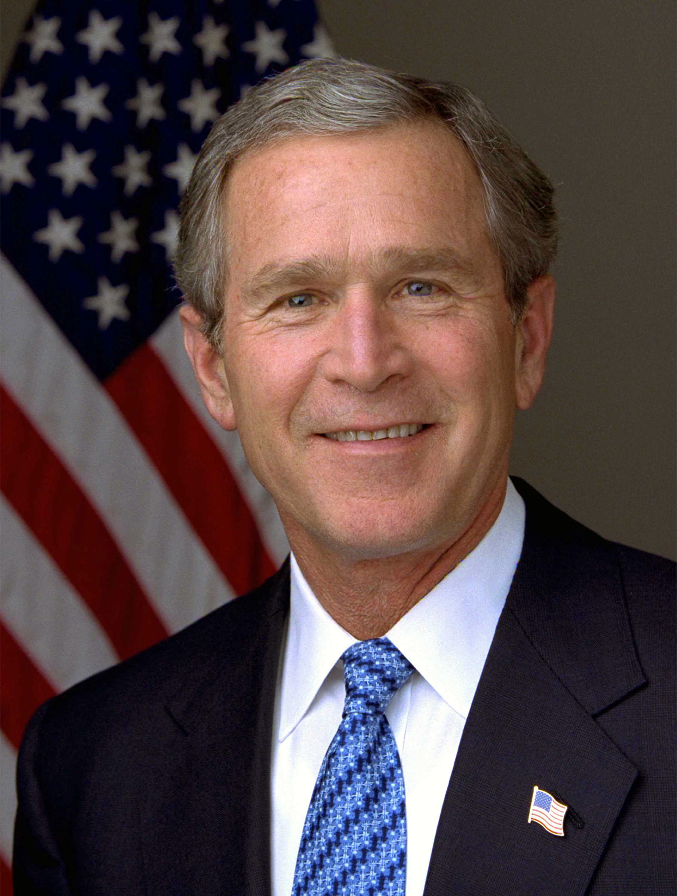 President George W. Bush with Flag Pin