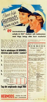 English: Advertisement for Hermods (distance l...
