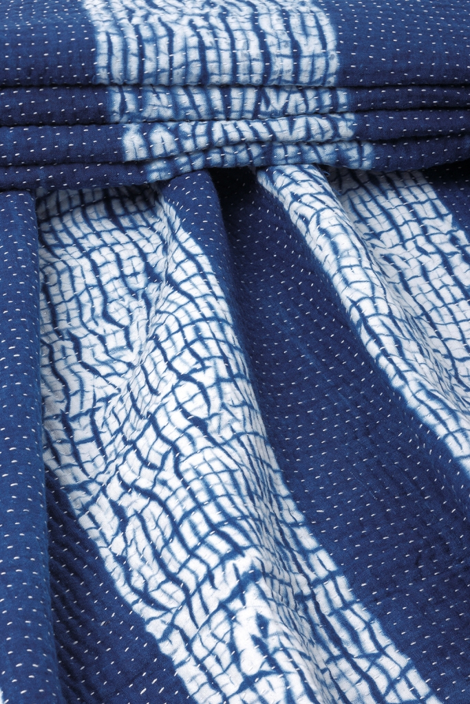 Indigo Dyed Shibori Quilt.JPG