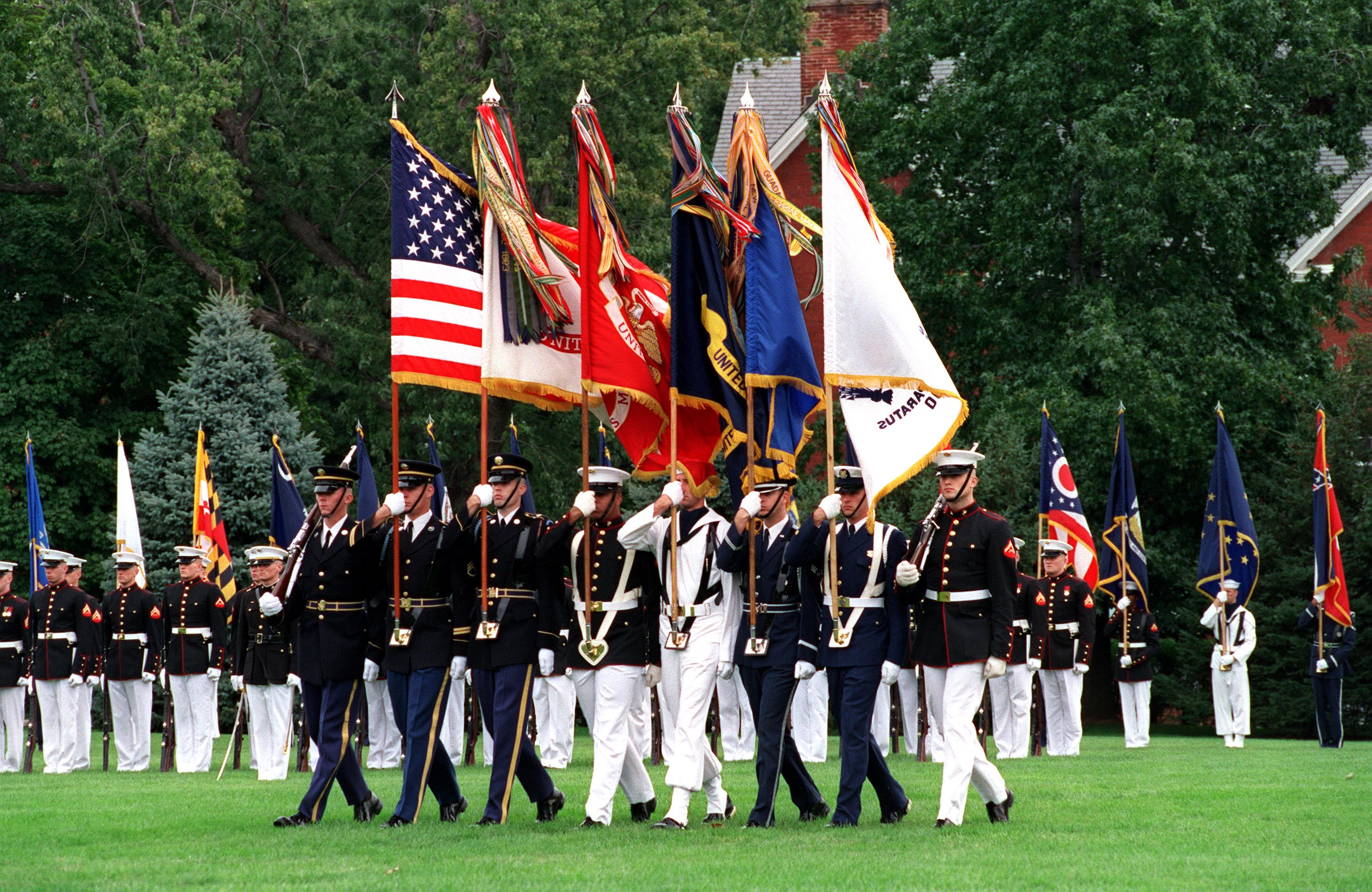 United States Armed Forces. United States Joint Service Color Guard on parade at Fort Myer