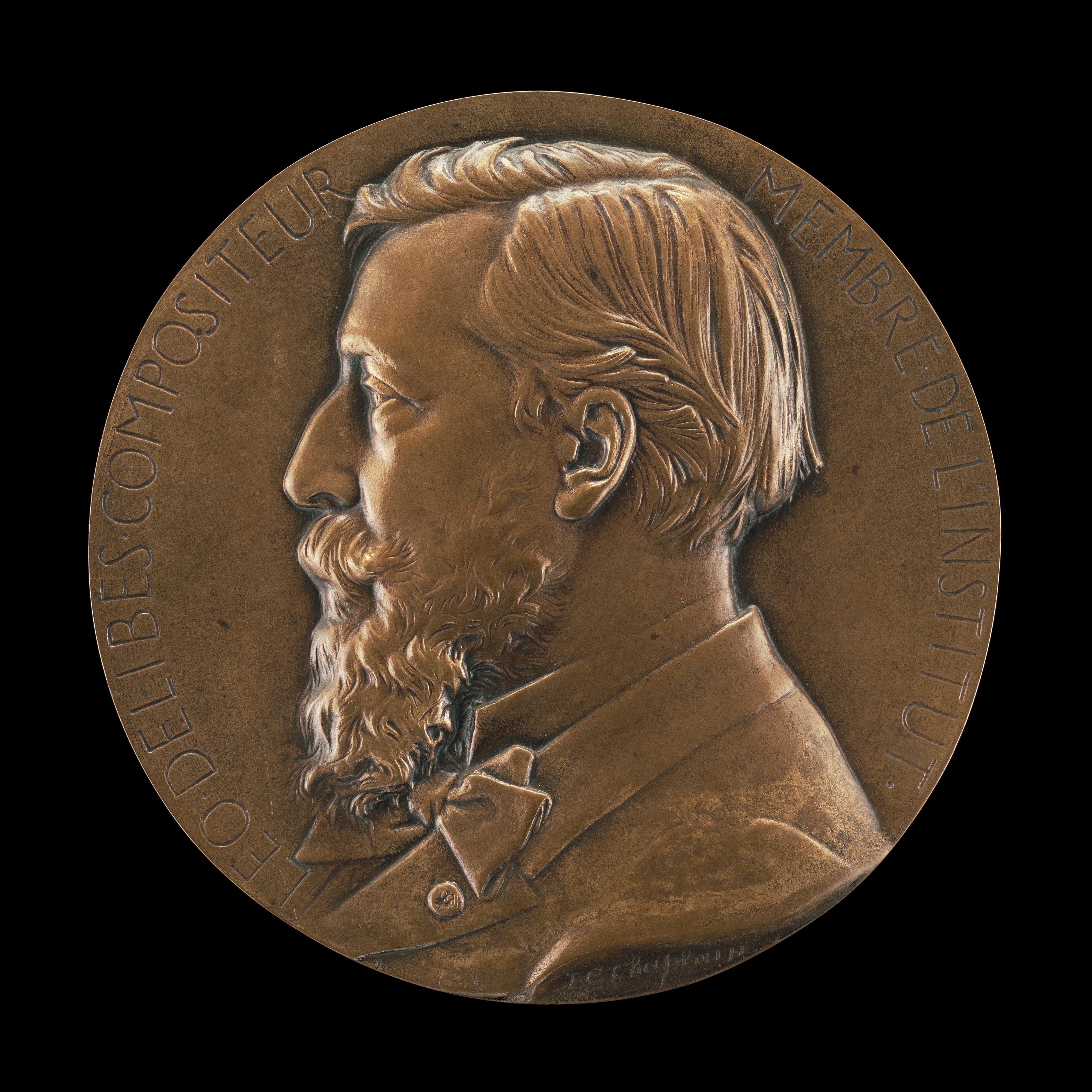 Bronze plaque of Léo Delibes, c. 1870