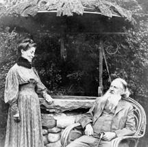 Juliette and Charles by a well at their home Arisbe in 1907