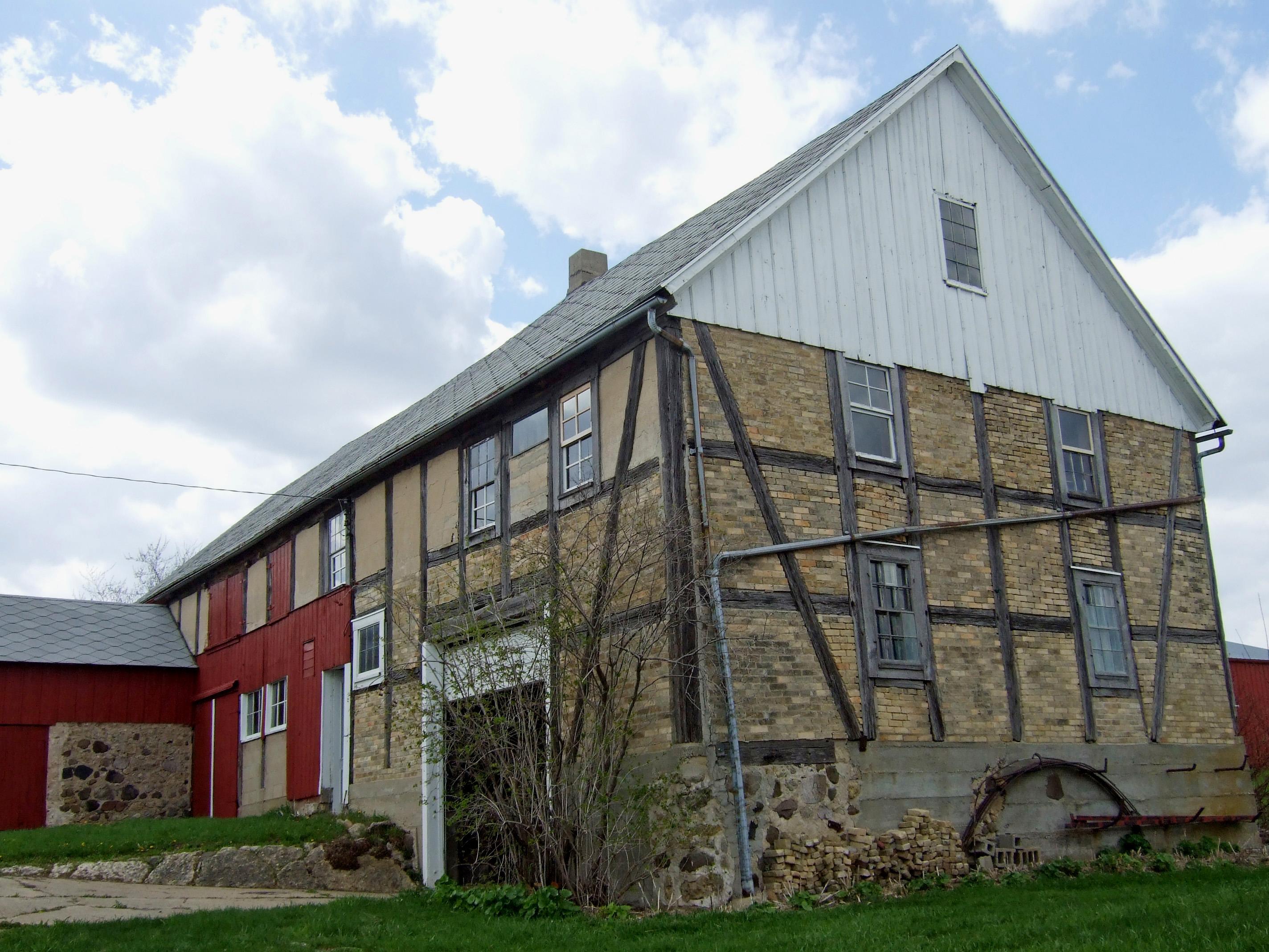 Fachwerkbauernhof in Emmet, Dodge County (Wisconsin), Vereinigte Staaten. Etwa 1850 errichtet für den schlesischen Auswanderer Friedrich Kliese
