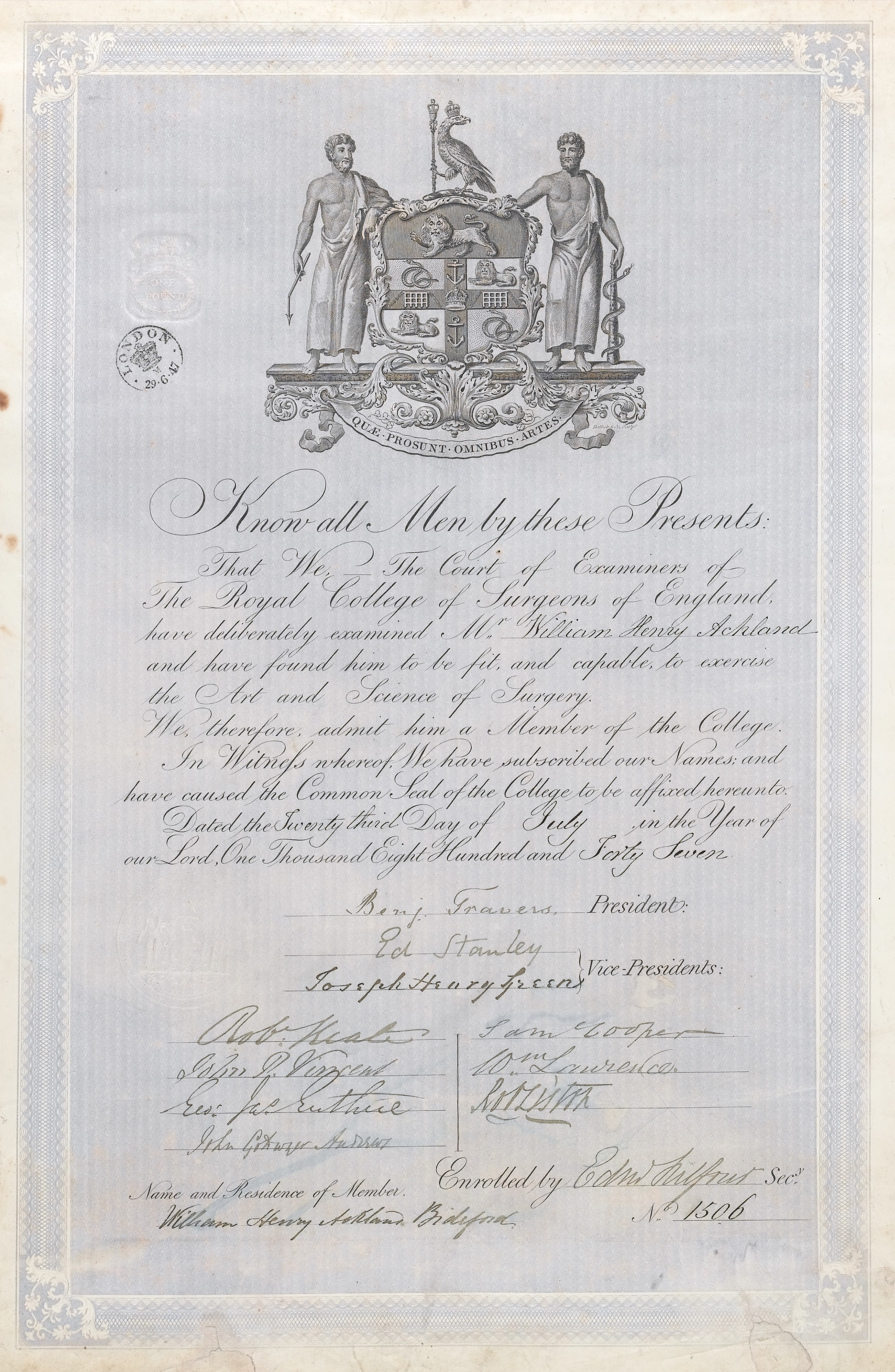 file mrcs diploma for w h ackland wellcome l jpg  file mrcs diploma for w h ackland 1847 wellcome l0044154 jpg