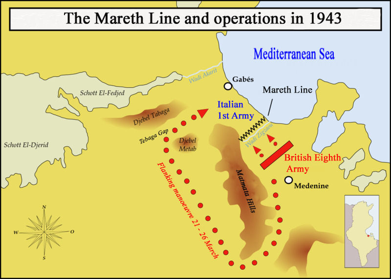 معركة خط مارث ........Battle of the Mareth Line MarethMap1943_en